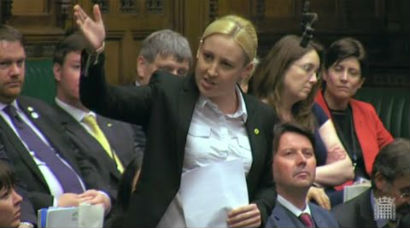 Mhairi delivering her maiden speech in parliament for the SNP