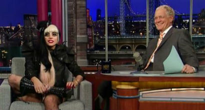 Lady Gaga getting eggy with David Letterman