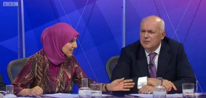 Salma Yaqoob calling Iain Duncan Smith a scrounger on BBC's Question Time