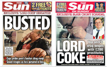 Front page of The Sun exposing Lord Sewel's bad behaviour with cocaine