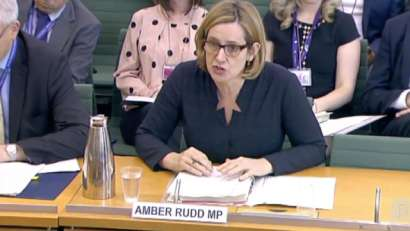 Amber Rudd answering to the commons committee over Windrush