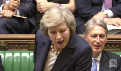 Theresa May scilences Jeremy Corbyn with the quote Reming him of anybody
