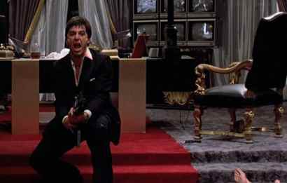 Tony Montana blowing up the door to his office